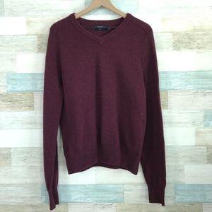 Lambswoool Sweater Dark Red V Neck J Crew